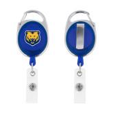 Blue Oval Retractable Badge Holder w/Clip-UNC Bear Logo