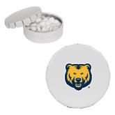 White Round Peppermint Clicker Tin-UNC Bear Logo