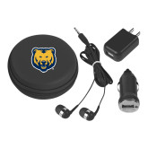 3 in 1 Black Audio Travel Kit-UNC Bear Logo