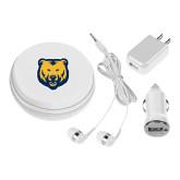 3 in 1 White Audio Travel Kit-UNC Bear Logo