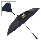 48 Inch Auto Open Black/Navy Inversion Umbrella-UNC Bear Logo