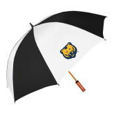 62 Inch Black/White Vented Umbrella-UNC Bear Logo