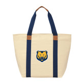 Natural/Navy Saratoga Tote-UNC Bear Logo