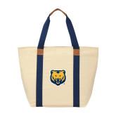 Natural/Navy Saratoga Tote-UNC Bear Logo