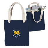 Allie Navy Canvas Tote-UNC Bear Logo