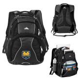 High Sierra Swerve Black Compu Backpack-UNC Bear Logo