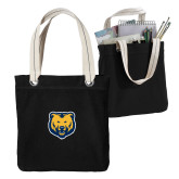 Allie Black Canvas Tote-UNC Bear Logo