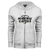 ENZA Ladies White Fleece Full Zip Hoodie-Peach Belt Champions