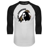 White/Black Raglan Baseball T-Shirt-Primary Mark