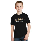 Youth Black T Shirt-Softball