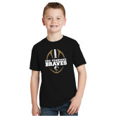 Youth Black T Shirt-Football Vertical Design