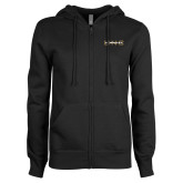 ENZA Ladies Black Fleece Full Zip Hoodie-UNC Pembroke