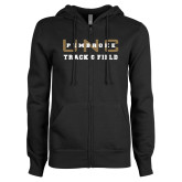 ENZA Ladies Black Fleece Full Zip Hoodie-Track and Field