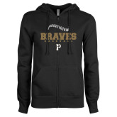 ENZA Ladies Black Fleece Full Zip Hoodie-Baseball Seams Stacked