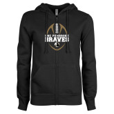 ENZA Ladies Black Fleece Full Zip Hoodie-Football Vertical Design