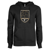 ENZA Ladies Black Fleece Full Zip Hoodie-Soccer Shield Design