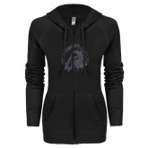 ENZA Ladies Black Light Weight Fleece Full Zip Hoodie-Primary Mark Glitter