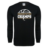 Black Long Sleeve T Shirt-Peach Belt Undisputed Basketball Champs