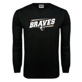 Black Long Sleeve TShirt-Braves Fancy Lines
