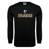 Black Long Sleeve TShirt-Braves Stacked