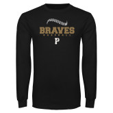 Black Long Sleeve TShirt-Baseball Seams Stacked
