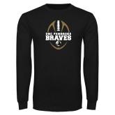 Black Long Sleeve TShirt-Football Vertical Design