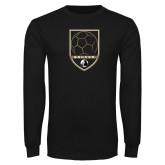 Black Long Sleeve TShirt-Soccer Shield Design