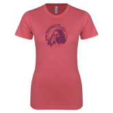 Next Level Ladies SoftStyle Junior Fitted Pink Tee-Primary Mark Glitter
