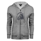 ENZA Ladies Grey Fleece Full Zip Hoodie-Primary Mark Glitter