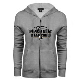 ENZA Ladies Grey Fleece Full Zip Hoodie-Peach Belt Champions