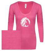 ENZA Ladies Hot Pink Long Sleeve V Neck Tee-Primary Mark