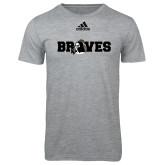 Adidas Sport Grey Logo T Shirt-Braves Wordmark