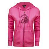 ENZA Ladies Fuchsia Fleece Full Zip Hoodie-Primary Mark Glitter