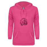 ENZA Ladies Hot Pink V Notch Raw Edge Fleece Hoodie-Primary Mark Glitter