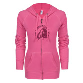 ENZA Ladies Hot Pink Light Weight Fleece Full Zip Hoodie-Primary Mark Glitter