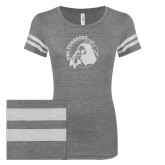 ENZA Ladies Dark Heather/White Vintage Triblend Football Tee-Primary Mark Glitter