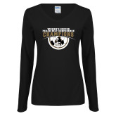 Ladies Black Long Sleeve V Neck T Shirt-2017 Peach Belt Conference Womens Soccer