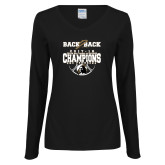 Ladies Black Long Sleeve V Neck T Shirt-Back 2 Back Regular Season Champions