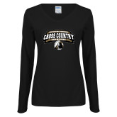 Ladies Black Long Sleeve V Neck Tee-2018 Peach Belt Cross Country Champions