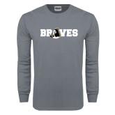 Charcoal Long Sleeve T Shirt-Braves Wordmark
