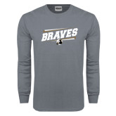 Charcoal Long Sleeve T Shirt-Braves Fancy Lines