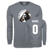 Charcoal Long Sleeve T Shirt-Primary Mark, Custom Tee w/ Name and #