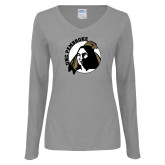 Ladies Grey Long Sleeve V Neck T Shirt-Primary Mark