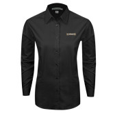 Ladies Black Tonal Pattern Long Sleeve Shirt-UNC Pembroke
