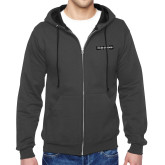 Charcoal Fleece Full Zip Hoodie-UNC Pembroke