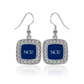 Crystal Studded Square Pendant Silver Dangle Earrings-NCU Logo