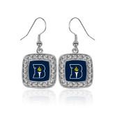 Crystal Studded Square Pendant Silver Dangle Earrings-Bushnell University Primary Mark
