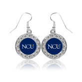 Crystal Studded Round Pendant Silver Dangle Earrings-NCU Logo