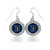 Crystal Studded Round Pendant Silver Dangle Earrings-Bushnell University Primary Mark
