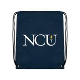 Navy Drawstring Backpack-NCU Logo